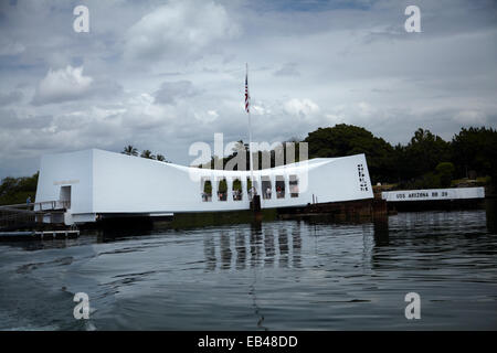 USS Arizona Memorial, Pearl Harbour, Honolulu, Oahu, Hawaii, USA - Stock Photo