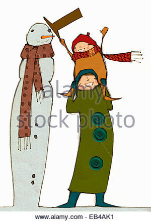 Smiling mother carrying daughter on shoulders to put hat on top of tall snowman - Stock Photo