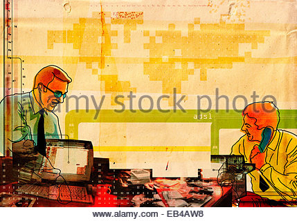 Two businessmen working in office with messy desk - Stock Photo