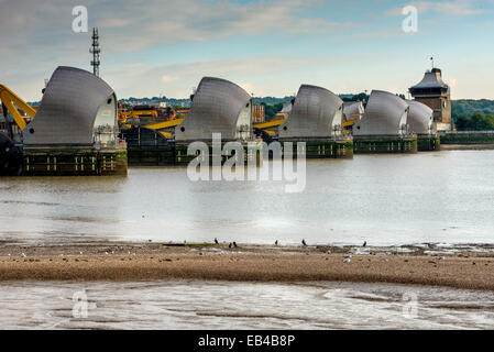 The Thames Flood Barrier on the River Thames in East London - Stock Photo