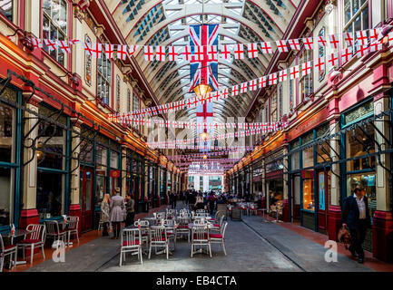 Leadenhall Market is a covered market in London, located on Gracechurch Street, City of London. - Stock Photo