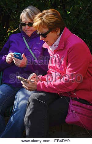 Women look at their cell phones at the Daniel Stowe Botanical Garden. - Stock Photo