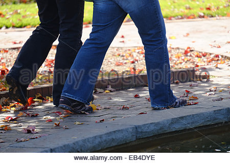 The legs of two mature women walk side by side along a brick walkway at the Daniel Stowe Botanical Garden. - Stock Photo
