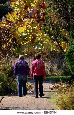 Women go for a walk along a brick path in the Daniel Stowe Botanic Garden. - Stock Photo