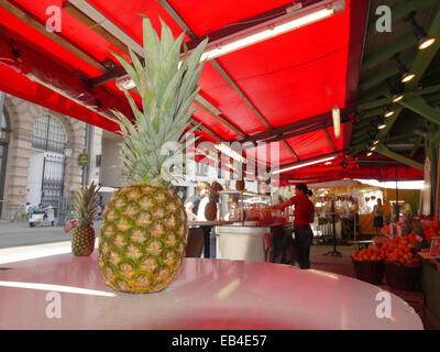 Fresh Fruit Juice Grocery sale Viktualienmarkt open air market Munich Germany Europe - Stock Photo