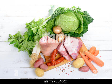 vegetables and meat for the pot-au-feu - Stock Photo