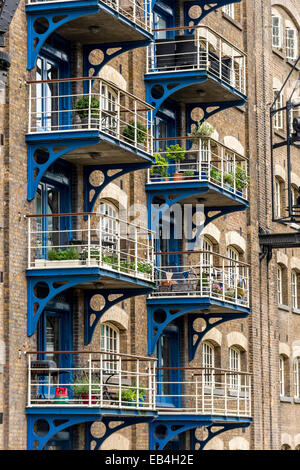 Converted Warehouse balconies of converted warehouse flats in shad thames, dockland