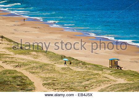 An aerial view of an Atlantic Ocean beach near Punta del Este. - Stock Photo
