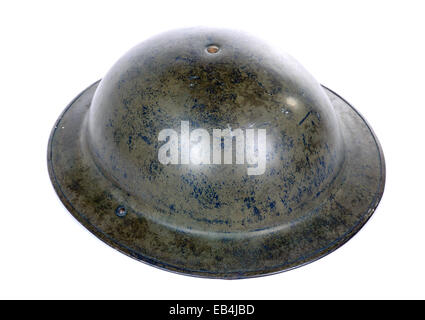 British ww2 military helmet isolated on a white background - Stock Photo