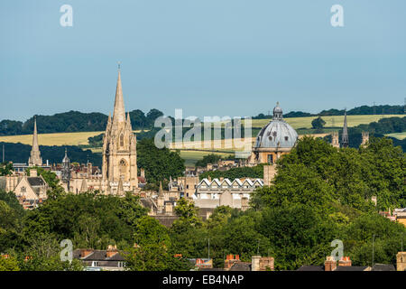 The dreaming spires of Oxford University including the Radcliffe Camera and University Church of St Mary seen from - Stock Photo