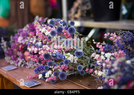 Dry flowers on the market in Provence, France - Stock Photo
