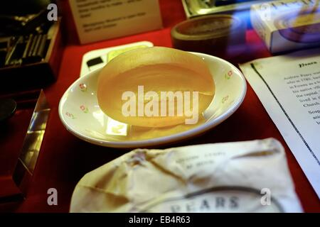 A bar of Pears soap on display inside the Mevagissey Museum Cornwall England UK - Stock Photo