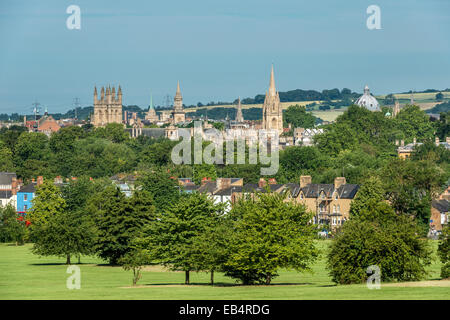 The dreaming spires of Oxford University including the Radcliffe Camera, University Church of St Mary and Merton - Stock Photo