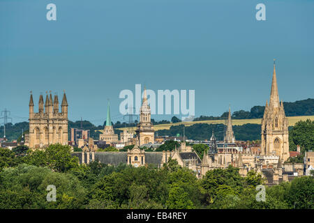 The dreaming spires of Oxford University including Nuffield College, University Church of St Mary and Merton College - Stock Photo