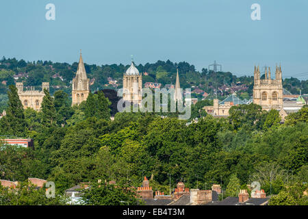 The dreaming spires of Oxford University including Tom Tower of Christ Church seen from South Park - Stock Photo
