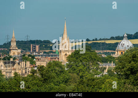 The dreaming spires of Oxford University including the Radcliffe Camera, University Church of St Mary and Lincoln - Stock Photo