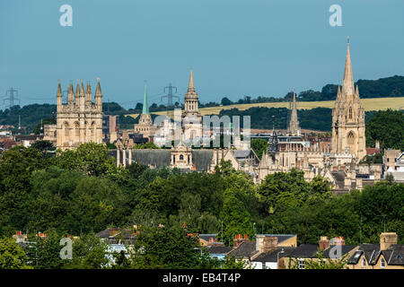 The dreaming spires of Oxford University including the  University Church of St Mary, Lincoln College, Nuffield - Stock Photo