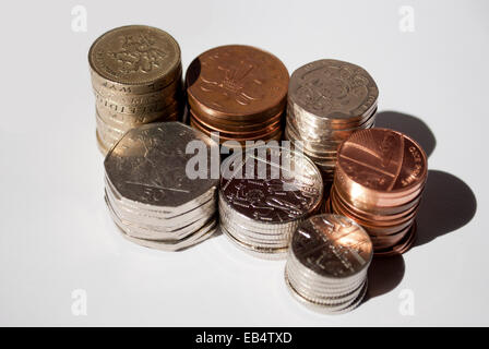 Stacks of Sterling Coins of Great Britain - Stock Photo