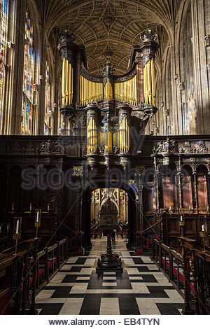 View of the large stained-glass windows, rod screen and fan vault ...