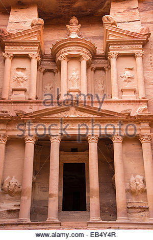 A view of the Treasury, al Khazneh, in Petra. - Stock Photo
