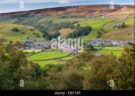 The village of Gunnerside , Swaledale in the Yorkshire Dales in Yorkshire , England , Britain , Uk - Stock Photo