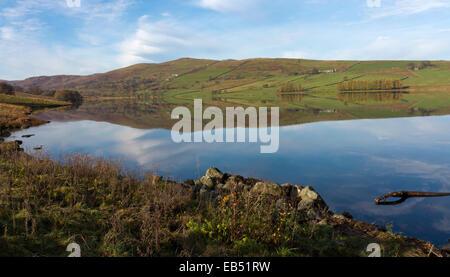 View north across Wet Sleddale Reservoir Shap Cumbria Lake District National Park England - Stock Photo