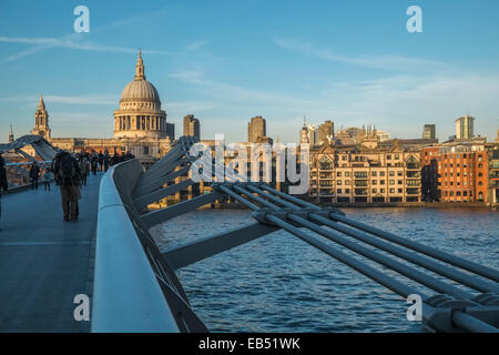 Millenium Bridge, Looking towards St Pauls Cathedral, London, England UK - Stock Photo