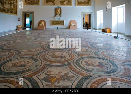 Tunisia, Tunis,  Roman mosaics in the Del Bardo museum - Stock Photo