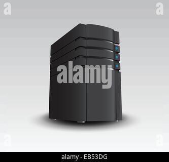 Digitally generated black server tower - Stock Photo