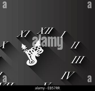 Roman numeral clock on black - Stock Photo