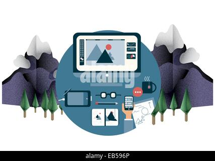 Designers desk in mountain setting - Stock Photo