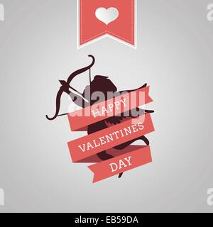 Happy Valentines Day vector with cupid - Stock Photo