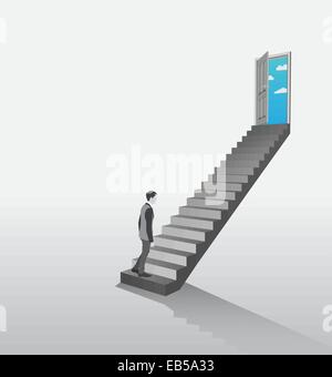 Businessman climbing stairs to open door showing sky - Stock Photo