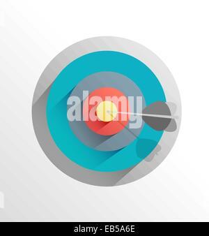 Arrow in bulls eye target - Stock Photo