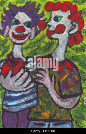 Two clowns friends painting - Stock Photo