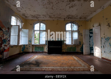 Large room in Beelitz Heilstaetten former TB hospital, abandoned place near Berlin - Stock Photo