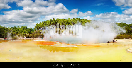 Artist's Palette pool, hot thermal spring, Rotorua, New Zealand - Stock Photo