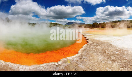 Champagne Pool, hot thermal spring, Rotorua, New Zealand - Stock Photo