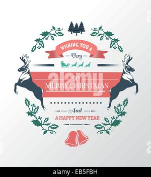 Merry christmas and happy new year vector - Stock Photo