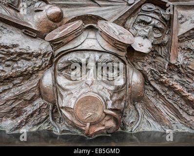 Detail from Battle of Britain Monument on London Embankment UK - Stock Photo