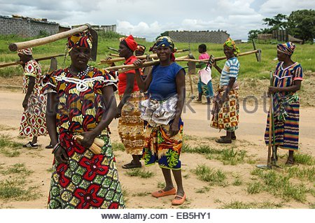 An all female work party in the town of Cuito Cuanavale. - Stock Photo