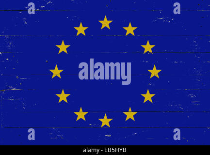 European flag painted on a wooden board - Stock Photo