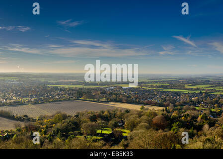 A panoramic view of Princes Risborough from Whiteleaf Cross in the Chiltern Hills England - Stock Photo