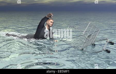 Businessman and shopping cart sinking in the water by grey cloudy day - Stock Photo