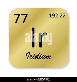 Black iridium element into golden square shape isolated in white background - Stock Photo