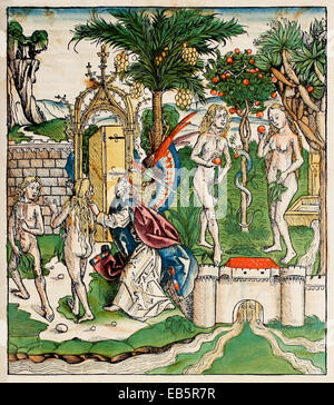 Banishment of Adam and Eve. God banishes Adam and Eve from the Garden of Eden: 'Therefore the LORD God sent him - Stock Photo
