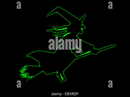 Outline drawing of a Halloween witch on a black background - Stock Photo