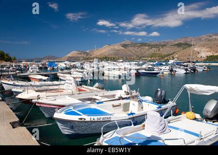 Argostoli, Kefalonia, Ionian Islands, Greece. View across the harbour. - Stock Photo