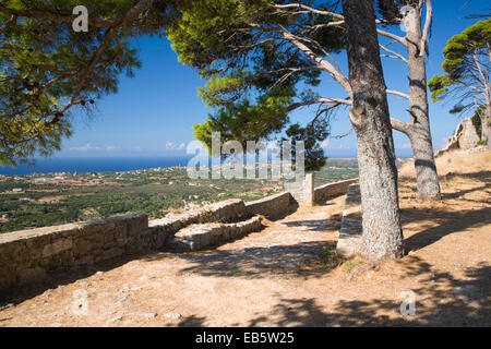 Kastro, Kefalonia, Ionian Islands, Greece. View towards the coast from ramparts of the Castle of Agios Georgios. - Stock Photo