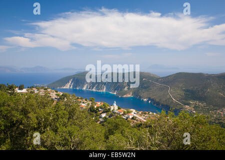Exogi, Ithaca, Ionian Islands, Greece. View from wooded hillside above the village to Afales Bay and the distant - Stock Photo